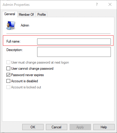 In the General tab type the Full name of the user account according to your choice