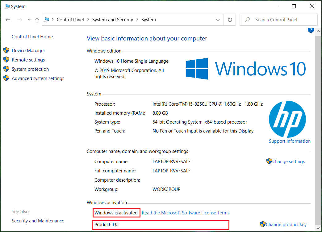 Look for Windows activation heading at the bottom