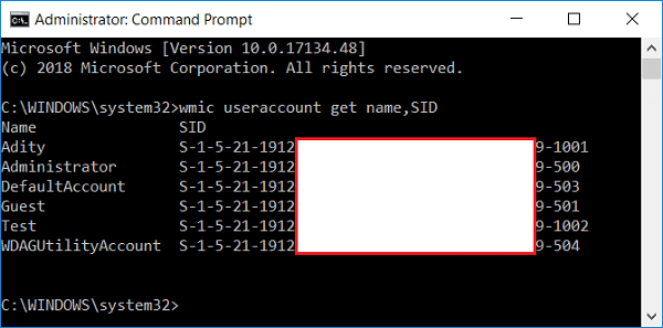 Note down the SID of the account wmic useraccount get name,SID | Rename User Profile Folder in Windows 10