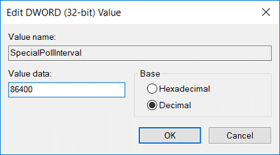 Now select Decimal from the Base then change the Value date of SpecialPollInterval to 86400