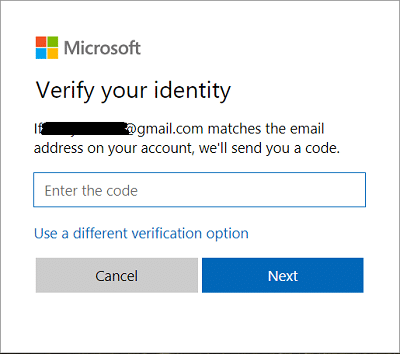 Now type in the security code which you received then click Next