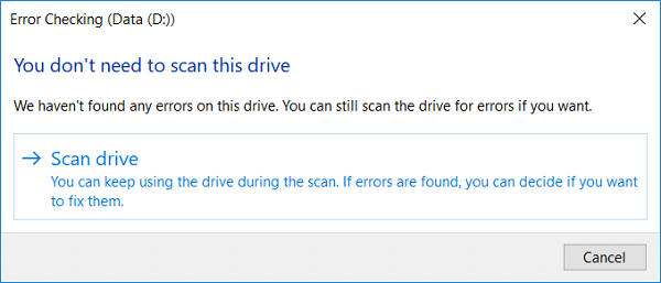 Now you can Scan drive or Repair drive (if errors are found)