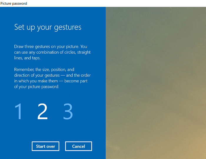 Now you have to draw three gesture one by one on the picture   How to Add a Picture Password in Windows 10