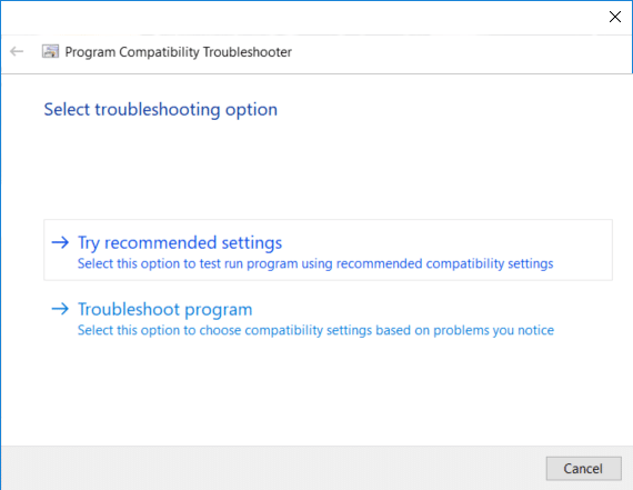 On the Select troubleshooting options window click on Try recommended settings