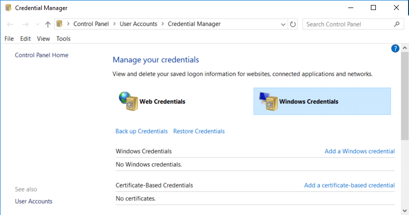 Once inside Credential Manager click to select Windows Credentials