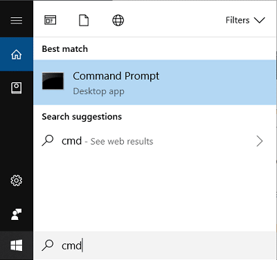 Press Windows Key + S then type cmd and press CTRL + SHIFT + ENTER to launch the elevated command prompt