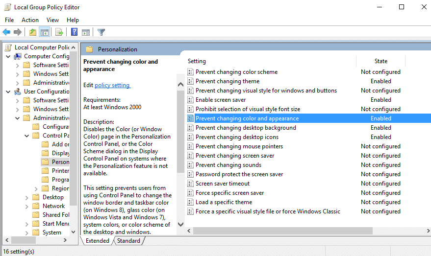 Prevent changing color and appearance in group policy editor