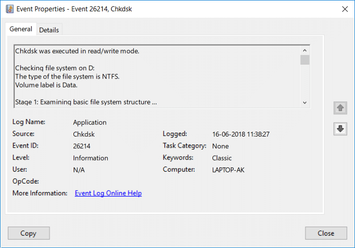 Read Event Viewer Log for Chkdsk in Windows 10