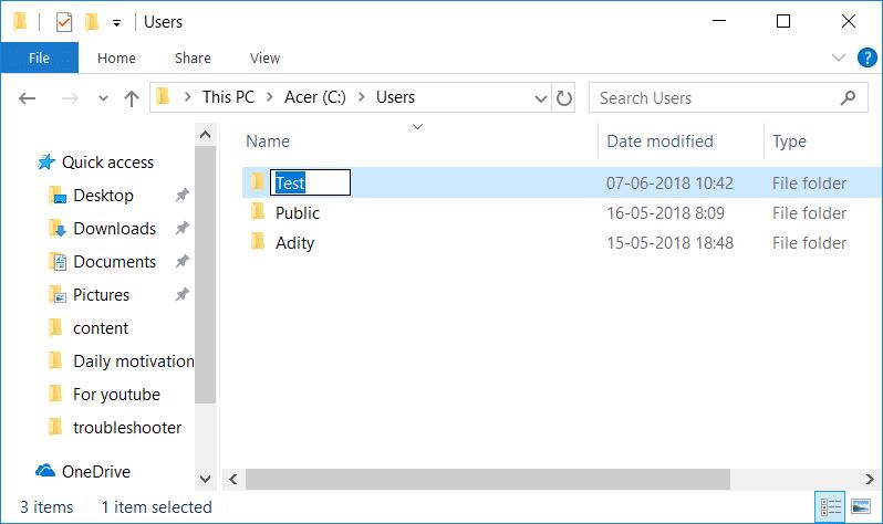 Rename User Profile Folder in Windows 10