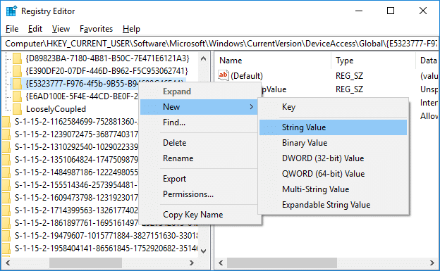 Right-click on {E5323777-F976-4f5b-9B55-B94699C46E44} then select New and String Value