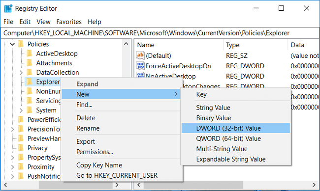 Right-click on Explorer then select New and click on DWORD (32-bit) Value
