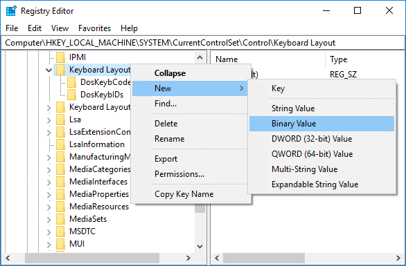 Right-click on Keyboard Layout then select New then click on Binary Value