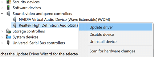 Right-click on Realtek High Definition Audio and select Update Driver Software