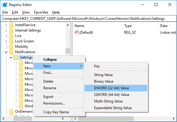 Right-click on Settings then select New DWORD (32-bit) Value