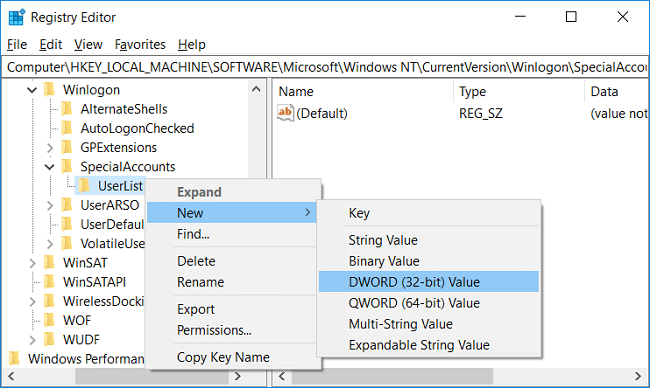 Right-click on UserList then select New then click on DWORD (32-bit) Value