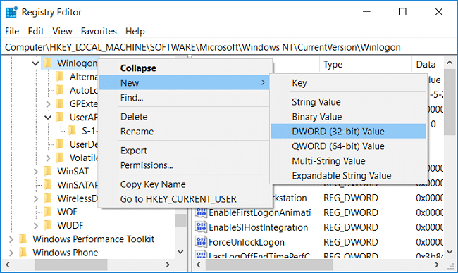 Right-click on Winlogon then select New and then click DWORD (32-bit) value