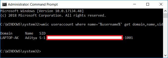 Security Identifier (SID) of User in Windows 10
