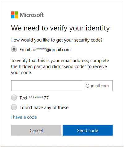 Select how you would like to verify your identity and click Next   How to Reset Your Password in Windows 10
