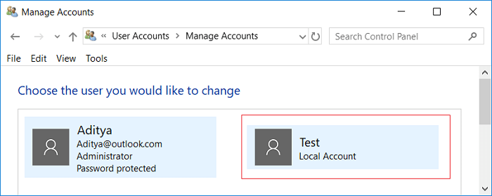 Click on the account for which you want to change the account type