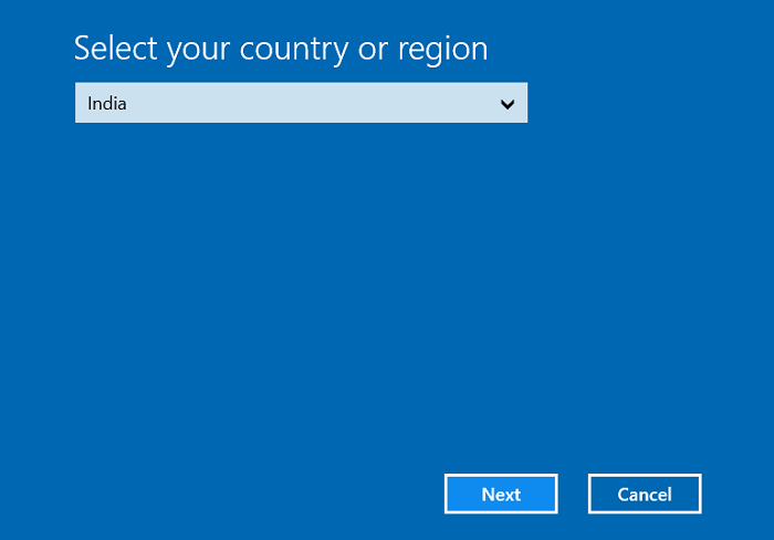 Select your country or region then click Next