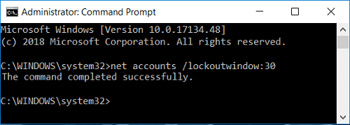 Set Account lockout duration using Command Prompt