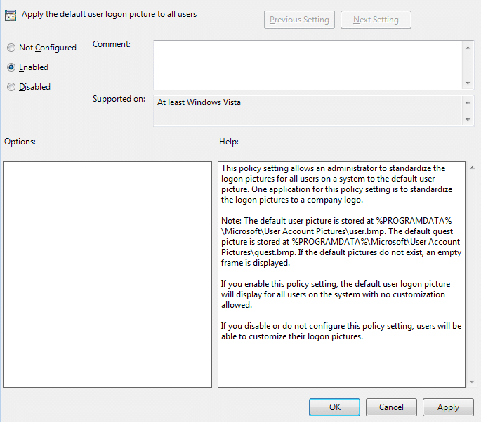 Set Apply the default account picture to all users policy to Enabled