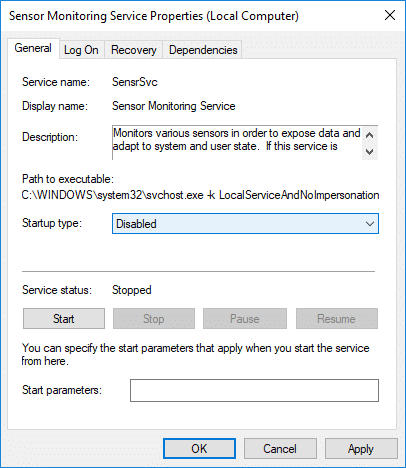 Set Startup type to Disabled under Sensor Monitoring service | How to Enable or Disable Adaptive Brightness in Windows 10