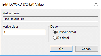 Set the value of UseDefaultTitle to 1 then click OK