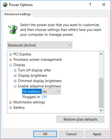 Set toggle ON for Enable adaptive brightness under plugged in and on battery