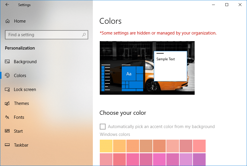 Some settings are managed by your organization in color window under personalization