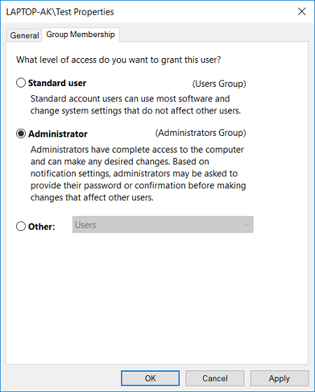 Switch to Group Membership tab then either choose Standard user or Administrator