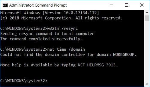 Synchronize Windows 10 Clock with an Internet Time Server in Command Prompt