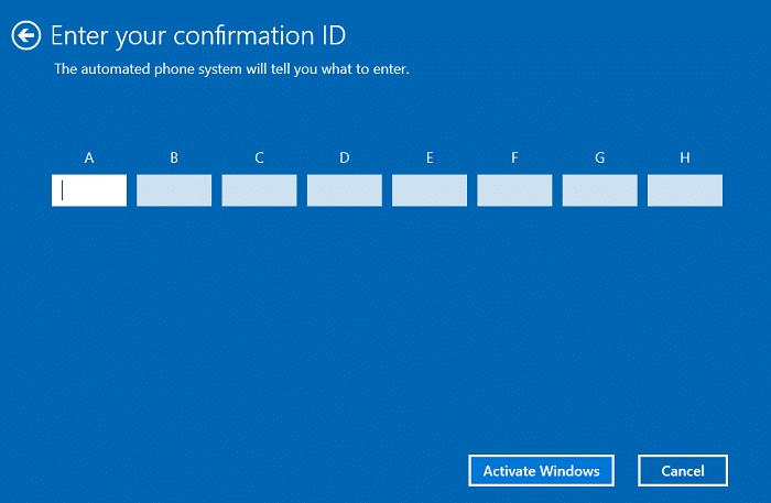 The automated phone system will ask you to enter your 63 digit installation ID then click Activate Windows