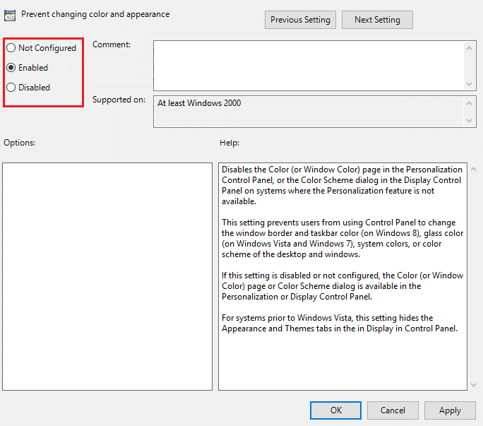To prevent changing color and appearance in Windows 10 checkmark Enabled