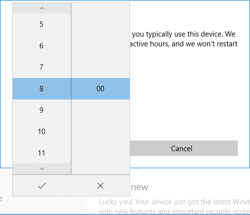 To set the Start time click on the current value than from the menu select the new values for hours