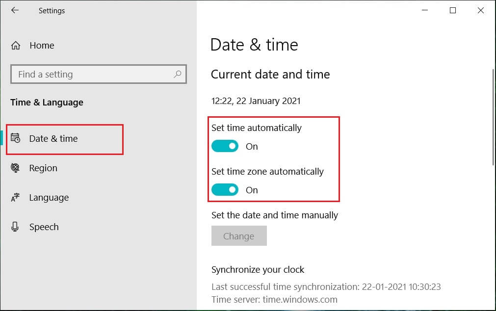 Turn ON the Set time automatically toggle   4 Ways to Change Date and Time in Windows 10