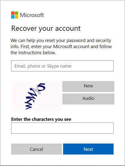 Type in your email address on Recover your account page then click Next