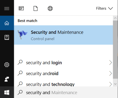 Type security in Windows Search then click on Security and Maintenance