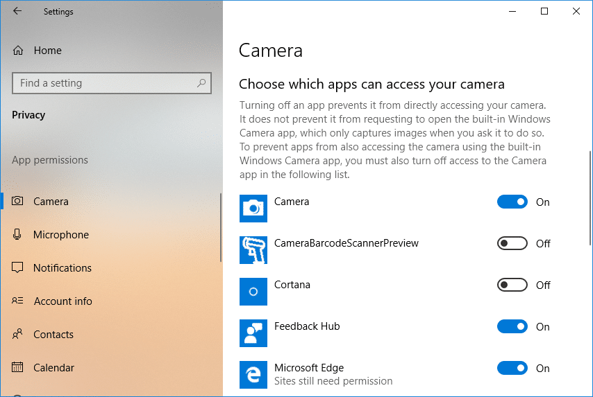 Under Choose apps that can use your camera turn off the toggle for the apps which you want to deny access to the camera
