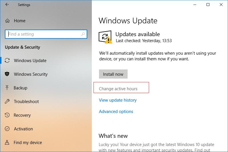 Under Windows Update click on Change Active Hour