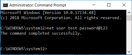 Use this command net user user_name new_password to change user account password