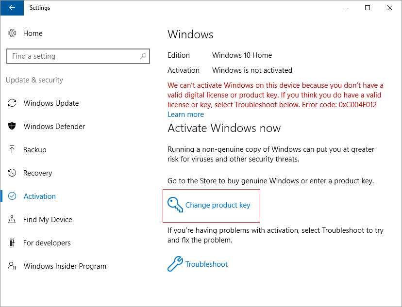 We can't activate Windows on this device because you don't have a valid digital license or product key