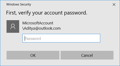 Windows will ask you to verify your identity