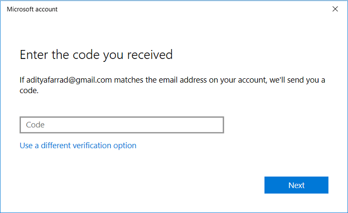 You need to confirm your identity using the code you receive on phone or email