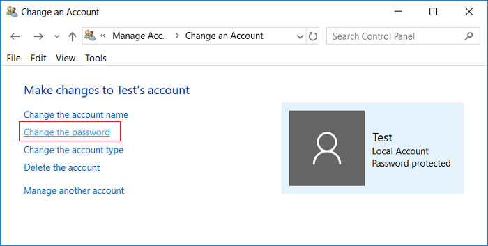 Click on Change the password under the user account
