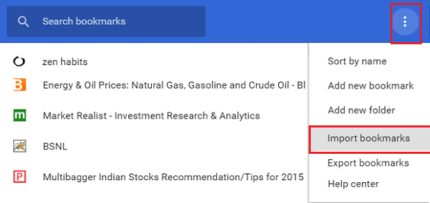 Click on the more button in the bookmarks bar & select Import Bookmarks
