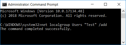 """net localgroup Users """"Account_Username"""" /add"""