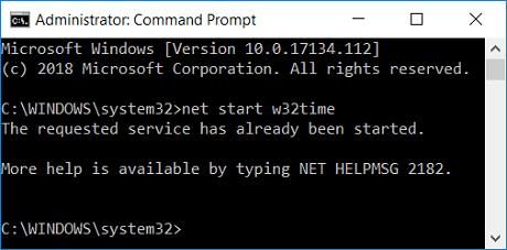 net start w32time