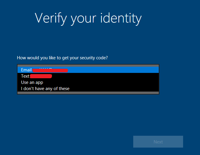 Select how you would like to verify your identity   How to Reset Your Password in Windows 10