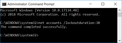 set the value of Reset account lockout counter after using command prompt